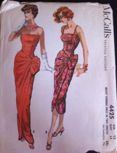 Vintage McCall's 4425 Sarong Wiggle Bombshell Evening Gown Dress Pattern 12 32 | eBay