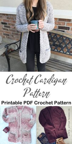 Make a Cozy Cardigan Always aspired to figure out how to knit, nevertheless not sure how to start? This specific Overall Beginner Knitting Se. Diy Crochet Sweater, Chunky Crochet, Crochet Blouse, Cute Crochet, Crochet Clothes, Crochet Cardigan Pattern Free Women, Baby Cardigan, Baby Pullover, Cardigan Sweaters