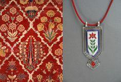 Mughal long rectangular enamel pendant – Lai