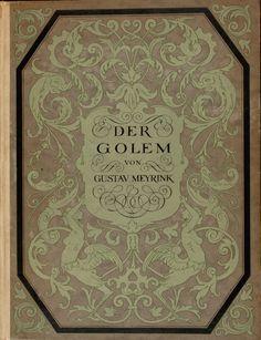 """Book cover, Gustav Meyrink """"Der Golem"""" 1915"""