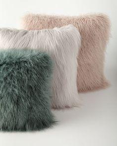 Khan Faux-Fur Pillows at Horchow.