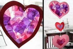Tissue paper hearts for valentines day