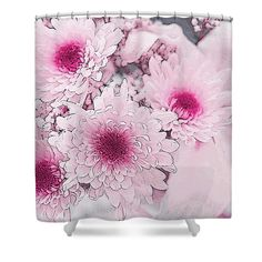 La Vie en Rose - Chrysanthemums and Lilies Shower Curtain by Jenny Rainbow. This shower curtain is made from polyester fabric and includes 12 holes at the top of the curtain for simple hanging. The total dimensions of the shower curtain are wide x tall. Shower Curtain Rings, Shower Curtains, Chrysanthemums, Curtains For Sale, Basic Colors, Lilies, Art Techniques, Fine Art Photography, Color Show