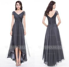 Hot 2018 Mother Of The Bride Formal V Neck Short Sleeve A Line High-Low With Beaded Chiffon Grey Mother Groom Dresses Plus Size Mother Of The Bride Gown, Mother Of Groom Dresses, Mothers Dresses, Mother Bride, Cheap Prom Dresses, Modest Dresses, Dresses With Sleeves, Maxi Dresses, Party Dresses