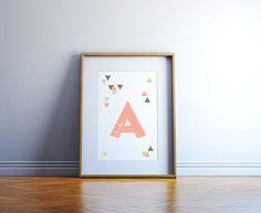 Custom Children's Name Art - Girl or Boy Alphabet Room Decor with Triangles