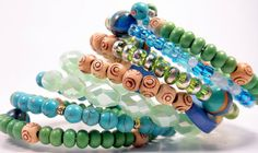 Chunky Bead Cuff Blue Teal Bangle Green Teal by ChristalDreamz