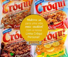 Desperte seu bem-estar e disposição com a nossa linha Cróqui Personal, nas opções Original, Banana e Mel, Castanhas e Chocolate. #Feinkost #LinhaCróqui #granola