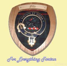 Clan Fife Tartan Woodcarver Wooden Wall Plaque Fife Crest 7 x 8