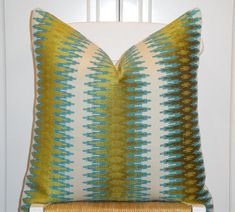 Decorative Pillow Cover - 18x18, 20x20, 22x22 - Sofa Pillow - Teal/Blue - Olive Green - Chevron Velvet