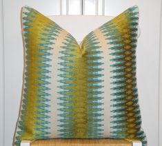 Decorative Pillow Cover - 18x18, 20x20, 22x22 - Sofa Pillow - Teal/Blue - Olive Green - Chevron Velvet