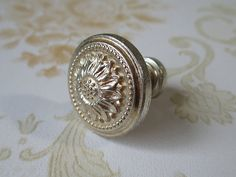 Antique Silver Rose Flower Dresser Drawer Knobs Handles Pulls French Country Home Decor by HardwareSupply, $3.50