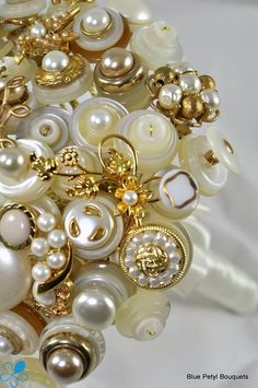 Gold Pearl Button Bouquet