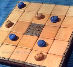 Egyptian Seega Game Board with 1212 blue and by GameboardAndTiles, $62.00. Love games like these. Old as old and so much fun for all to learn.