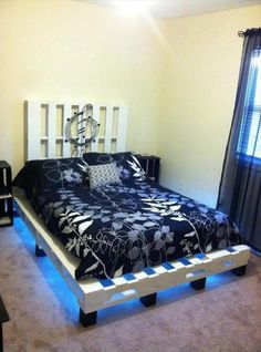 Precious and Simple Pallet Ideas for Bed Frame with Lights