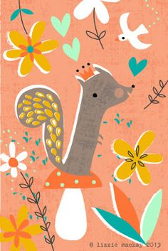 fall squirell with a crown and rosy cheeks, illustration by Lizzie Mackay Squirrel Illustration, Pattern Illustration, Children's Book Illustration, Illustration Animals, Character Illustration, Woodland Creatures, Whimsical Art, Oeuvre D'art, Cute Art