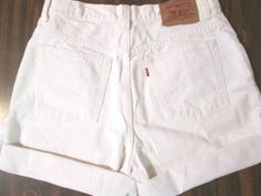 """Vintage Cuffed Levis High Waisted White Washed Jean Shorts 31"""" Waist"""