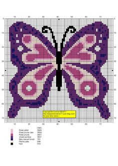 Butterfly Cross Stitch, Cross Stitch Bird, Cross Stitch Animals, Butterfly Pattern, Cross Stitch Charts, Cross Stitching, Cross Stitch Patterns, Perler Patterns, Peyote Patterns