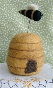 Felted Bee and Hive