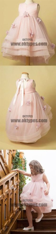 Light Pink Tulle Handmade Flower Little Girl Dresses, Cheap Flower Girl Dresses, Cheap Flower Girl Dresses, Little Girl Dresses, Girls Dresses, Linen Dress Pattern, Dresser, Pink Tulle, Satin Dresses, Dress Lace, Famous Brands