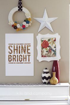 Loving this little arrangement of happiness. Shine Bright print at Kiki and Company