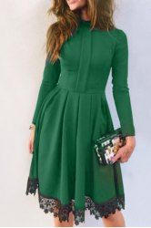 Stylish Stand Collar Long Sleeves Lacework Splicing Women's Dress tracking code :  ?lkid=22131