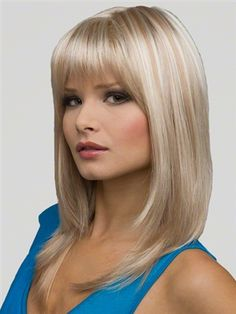Women Charming Long Light Blonde Straight Layered with Flat Bangs Hair Wig Fashion Synthetic Wigs PS Wig Cap Medium Hair Cuts, Long Hair Cuts, Medium Hair Styles, Short Hair Styles, Hairstyles For Round Faces, Hairstyles With Bangs, Braided Hairstyles, Monofilament Wigs, Hair Styles 2014