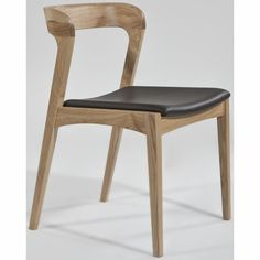 Jastine Upholstered Dining Chair - INmod  dining chair for kitchen table.  can order in walnut with beige leather seating.  open back though and pricey at $400+per chair.  would need 4