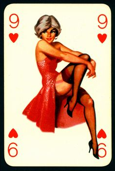 Pin Up Playing Card - Nine of Hearts by cigcardpix, via Cool Playing Cards, Vintage Playing Cards, Printable Playing Cards, Vargas Girls, Calendar Girls, Hanging Posters, Lost Art, Amazing Pics, Pin Up Art