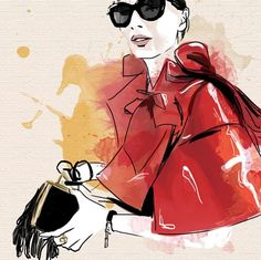 Giovanna Battaglia in a Comme des Garçons jacket Best PFW look! @bat_gio #giovannabattaglia #commedesgarcons #parisfashionweek #pfw #sarabattaglia #philoh #voguestreetstyle #monicaruf #illustration #fashionillustration #draw #drawing