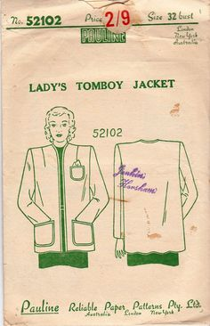 1930s Womens Straight Jacket Pattern Pauline 52102 Vintage Sewing Pattern Bust 32 inches