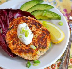 Salmon Burgers with Green Yoghurt Sauce - a few small adjustments for Banters required.