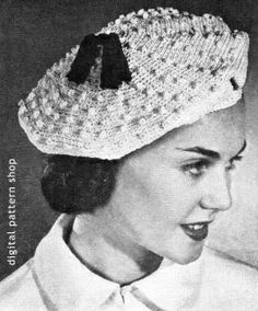 1940s Beret Crochet Pattern Vintage Womens Hat Pattern Instant Download PDF