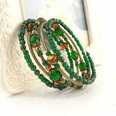 Boho Memory Wire Bracelets   Emerald Green Bracelet Memory Wire Wrap Boho by ReneeBrownsDesigns, $ ...
