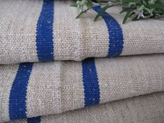 antique hemp linen BRIGHT BLUE runner upholstery by grainsack