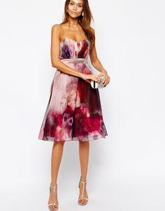 Image 4 ofLittle Mistress Bandeau Midi Prom Dress in Blurred Floral Print