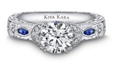 Kirk Kara sapphire accent Dahlia engagement ring