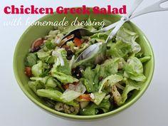 Chicken Greek Salad with Homemade Dressing Homemade Dressing, Greek Salad, Lettuce, Sprouts, Chicken, Vegetables, Blog, Recipes