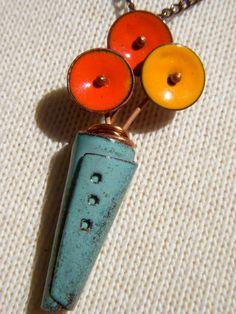 enamel copper necklace handmade flower pot bouquet pendant. $28.00, via Etsy.