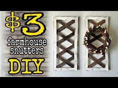 "Hi everyone, here's another Dollar Tree DIY Farmhouse Style home decor. I made these 2 wall ""sconces"" using dollar tree materials. Farmhouse Shutters, Diy Shutters, Farmhouse Wall Decor, Rustic Decor, Farmhouse Style, Farmhouse Plans, French Farmhouse, Modern Farmhouse, Farmhouse Lighting"