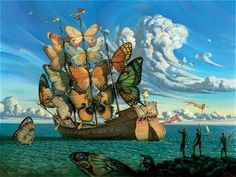 Departure of the Winged Ship (circa 2000, oil on canvas, 39 x 31 inches) – Widely reproduced as a print, the painting depicts a three-masted sailing ship heading out to the open sea on a windy day. Description from liberallifestyles.com. I searched for this on bing.com/images