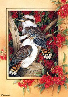 Painting of Kookaburra birds sitting on a flowering Eucalyptus tree.  Beautiful.