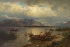 Hans Gude (1825-1903): Fiskere ved innsjø, 1868