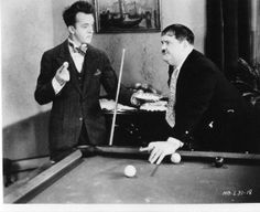 Laurel and Hardy playing pool. www.designerbilliards.co.uk