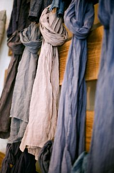 linen + chambray scarves - really lovely, so simple!