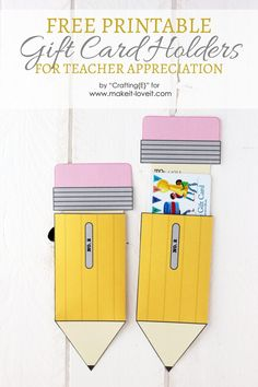 Teacher Appreciation Gift Card Holders - Today's contributor is Emma from Crafting{E}! All posts written by Emma for Make It and Love It - Teacher Cards, Teacher Thank You, Great Teacher Gifts, Teacher Birthday Card, Minion Birthday, Teacher Appreciation Week, Volunteer Appreciation, Crafting, High School
