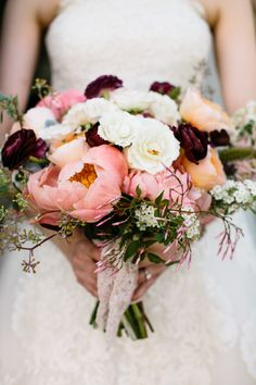Pretty blooms: http://www.stylemepretty.com/2015/05/01/rustic-summer-wedding-at-the-barn-at-the-crane-estate/ | Photography: Joyelle West - www.jwestwedding.com