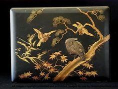Beautiful Antique Japanese Black Lacquerware Gilt Box Birds Branches Motif