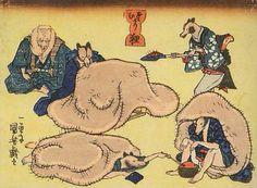 <さむがり狸 : SAMUGARI TANUKI> RACCOON DOG ARE SENSITIVE TO COLD KUNIYOSHI UTAGAWA 1798-1861 Last of Edo Period
