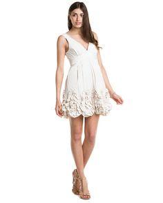 BCBGMAXAZRIA V-Neck Cream Ruffle Dress