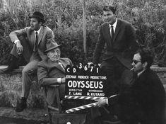 "Michel Piccoli, Fritz Lang, Jack Palance and Jean-Luc Godard in production on ""Le Mépris"" (1963)"